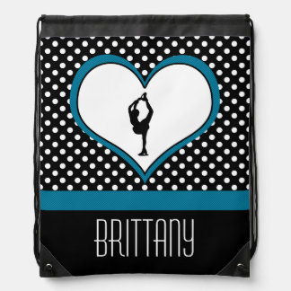 Blue Heart - White Polka-Dots Figure Skating Drawstring Bag