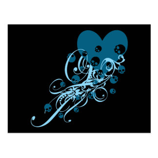 Blue Heart with Skulls and Swirls Postcard