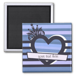 blue heart with stripes magnet