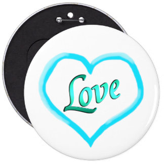 Blue Heart Word Love Pin Buttons