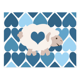 Blue Hearts and Cute Lamb Postcard