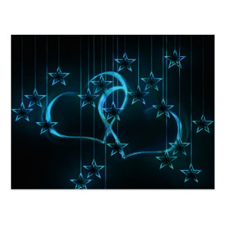 Blue hearts and stars in strings illustration postcard