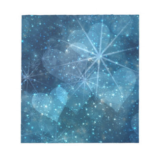 Blue Hearts And Stars Notepad