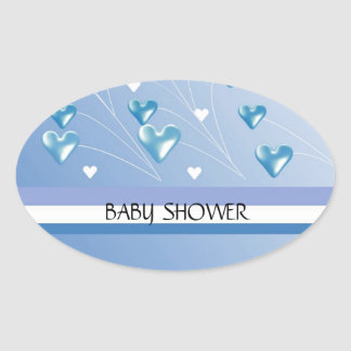 Blue Hearts and Stripes Baby Shower Oval Sticker