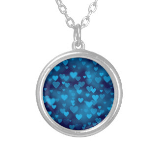 Blue Hearts Bokeh Necklace