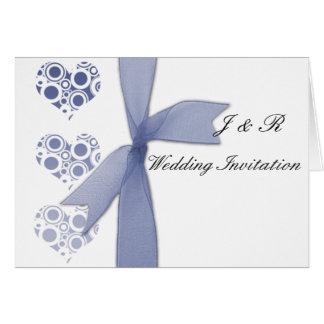 blue hearts & bows greeting card