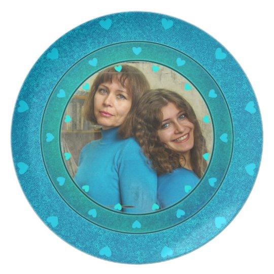 Blue hearts custom  photo frame cute gifts plate