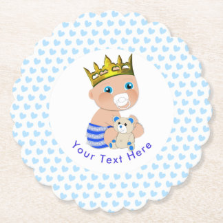 Blue Hearts Cute Prince Baby Boy Shower Party Paper Coaster