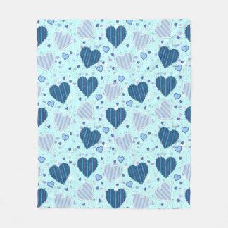 Blue Hearts Fleece Blanket, Medium