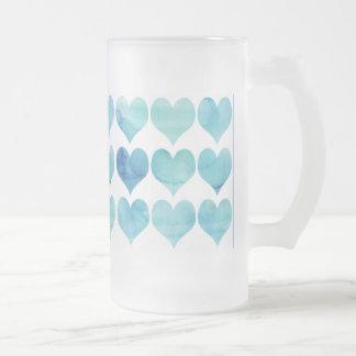 Blue Hearts Frosted Mug