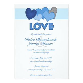 Blue Hearts LOVE Wedding Card