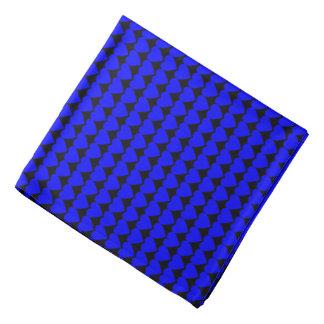 Blue Hearts on Black Head Kerchief