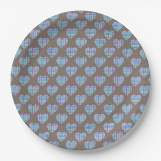 Blue hearts on chocolate brown paper plate