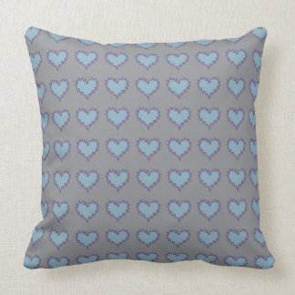Blue Hearts on Gray Throw Pillow Cushions