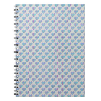 Blue hearts on pebble grey spiral note books
