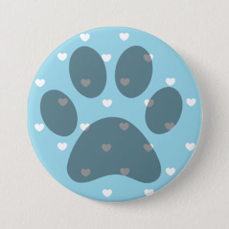Blue Hearts Paw Print Button
