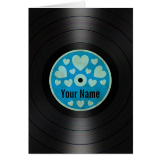 Blue Hearts Personalized Vinyl Record Album Greeting Cards