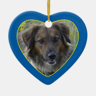 Blue Hearts Pet Memorial Photo Template Christmas Ornament