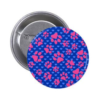 Blue hearts pink dog paws 6 cm round badge