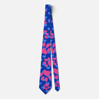 Blue hearts pink dog paws tie
