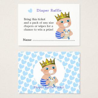 Blue Hearts Prince Baby Boy Shower Diaper Raffle Business Card