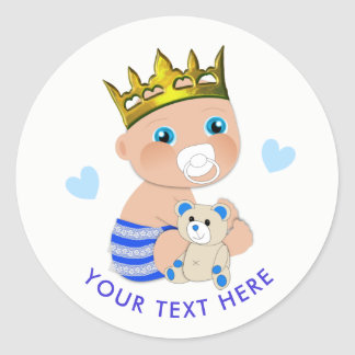 Blue Hearts Prince Baby Boy Shower Personalised Classic Round Sticker