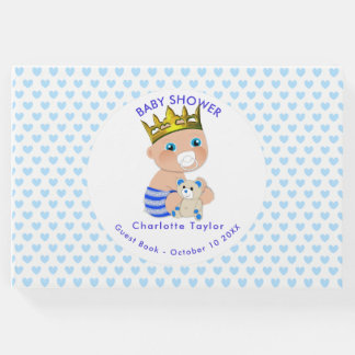 Blue Hearts Prince Baby Boy Shower Personalised Guest Book