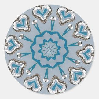 Blue Hearts Starburst Round Sticker