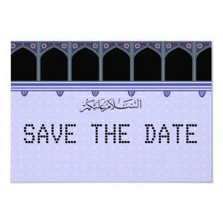 Blue Hearts telegram Muslim Save the Date 9 Cm X 13 Cm Invitation Card