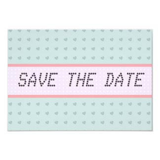 Blue Hearts telegram Vintage Save the Date Card