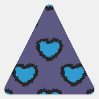 BLUE HEARTS TRIANGLE STICKER