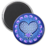 Blue Hearts Valentine Love Roses Magnet