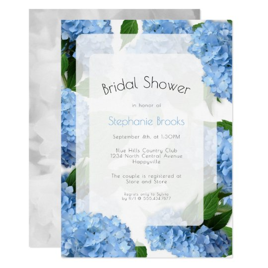 Blue Heaven Flowers Bridal Shower Invitation