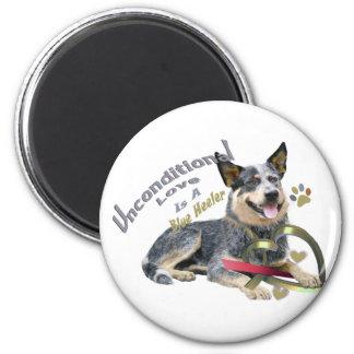 Blue Heeler Unconditional Love 6 Cm Round Magnet