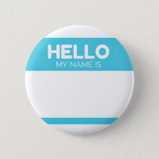 Blue Hello My Name Is Label 6 Cm Round Badge