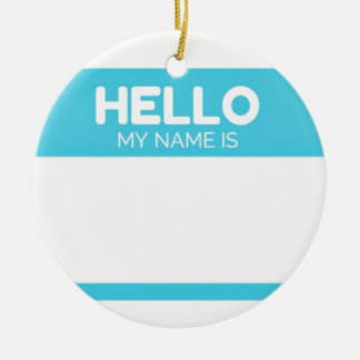 Blue Hello My Name Is Label Christmas Ornament