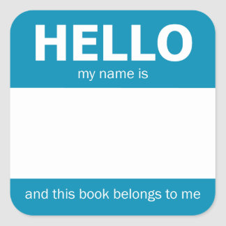 "Blue ""Hello"" Name Badge Bookplate Square Sticker"