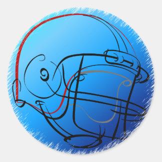Blue helmet round sticker