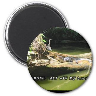 Blue Heron Alligator Log Magnet