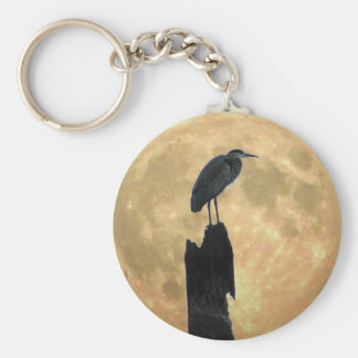 Blue Heron and Full Moon Basic Round Button Key Ring