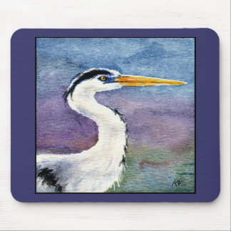 Blue Heron art on a mouse pad