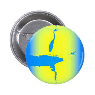 blue heron at sunrise 2 inch round button