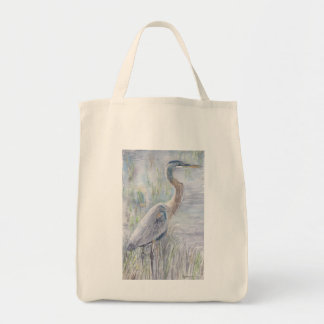 Blue Heron at the Reedy Edge (Grocery Tote)