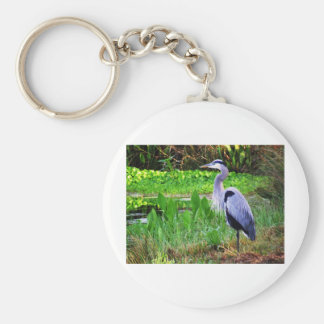 Blue Heron Basic Round Button Key Ring