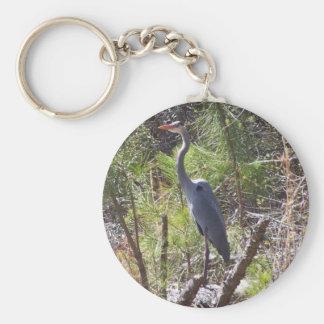 Blue Heron Basic Round Button Key Ring