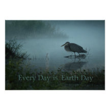 Blue Heron Earth Day Poster Print