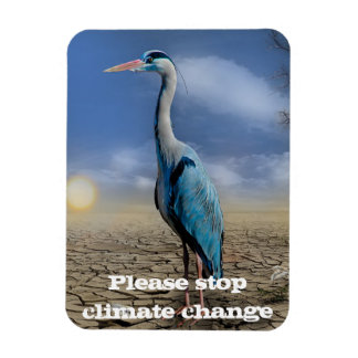 Blue heron in a drought rectangular photo magnet