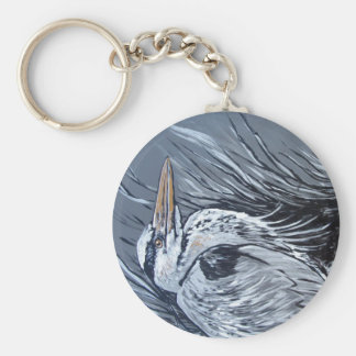 BLUE HERON IN BLACK AND WHITE KEYCHAIN