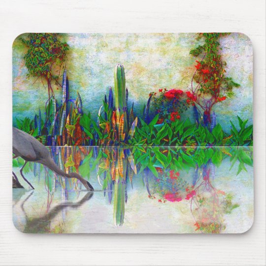 blue heron in my mexican garden mouse mat