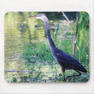 Blue Heron In Pond Mouse Pad